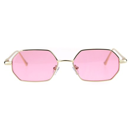 Pimp Daddy Color Lens Octagon Narrow Rectangular Metal Rim Sunglasses Gold Pink
