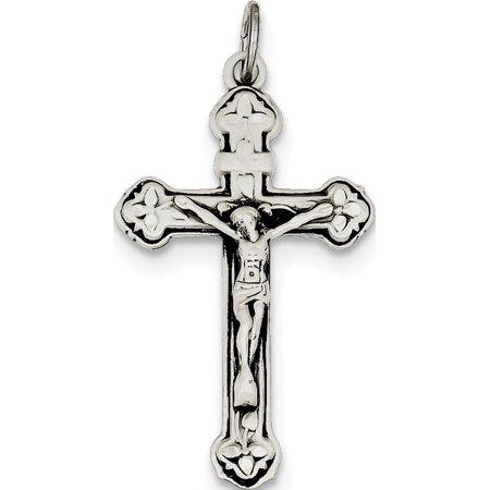 Leslies Fine Jewelry Designer 925 Sterling Silver Antiqued INRI Crucifix (30x37mm) Pendant (Antique Designer Jewelry Set)