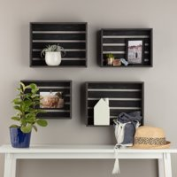 Gallery Solutions Rustic Wood Crate Wall Storage Set of Four, Distressed Black