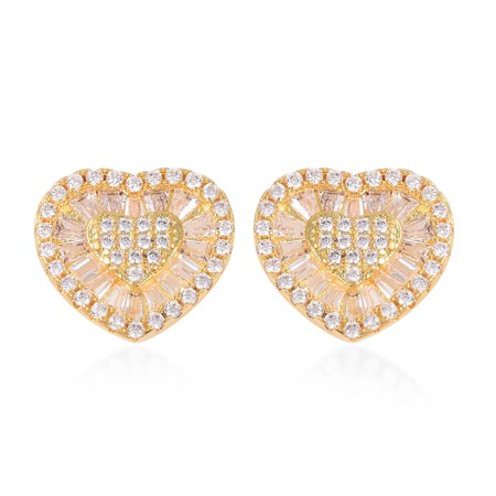 Heart Stud Solitaire Earrings Yellow Plated Baguette White Cubic Zirconia CZ Gift Jewelry for Women Ct 1.7