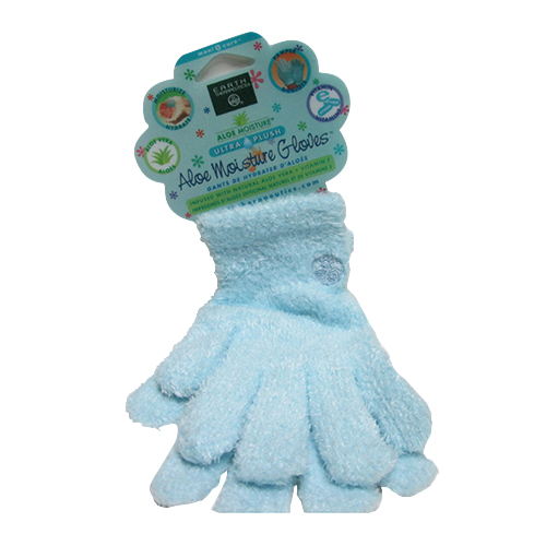 Earth Therapeutics Aloe Moisture Ultra Plush Moisturizing Gloves, Blue - 1 Pair