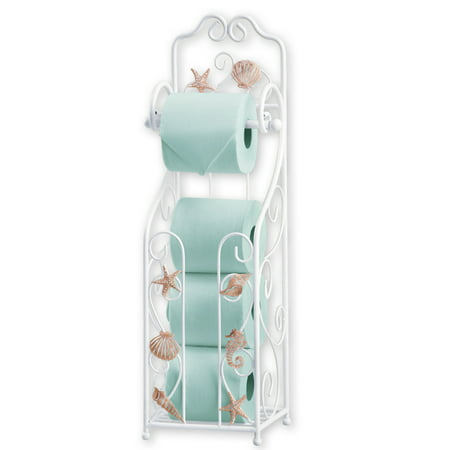 Shell Toilet Paper Holder and Stand with Scrolling Design- Bathroom Décor Hang Toilet Paper Holder