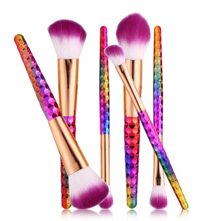 Yosoo 6PCS Colorful Makeup Brush Set Kit Foundation Contour Concealer Blusher Powder Cosmetic Tool, Powder Brush, Contour Brush Makeup Blusher Brush
