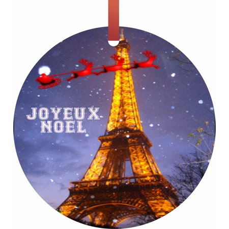 Santa and Sleigh Riding Over The Eiffel Tower on Christmas - TM - Flat Round-Shaped Holiday Tree Ornament Made in the