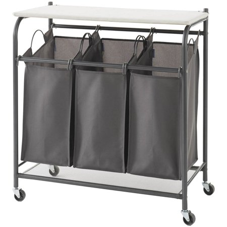 NeatFreak AU5479002X1EFST Rolling Triple Laundry Sorter with Ironing Board Top and EVERFRESH Odor -