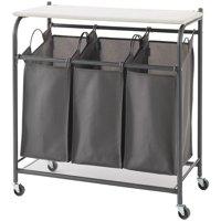 NeatFreak AU5479002X1EFST Rolling Triple Laundry Sorter with Ironing Board Top and EVERFRESH Odor Control