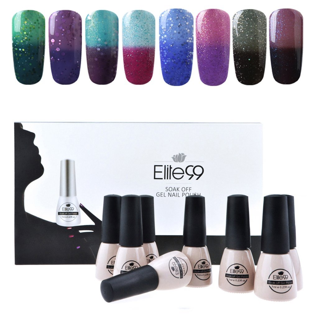 Elite99 Temperature Color Changing Gel Nail Polish Kit 8 Colors, Soak Off UV LED Nail Polish Set Nail Art C045