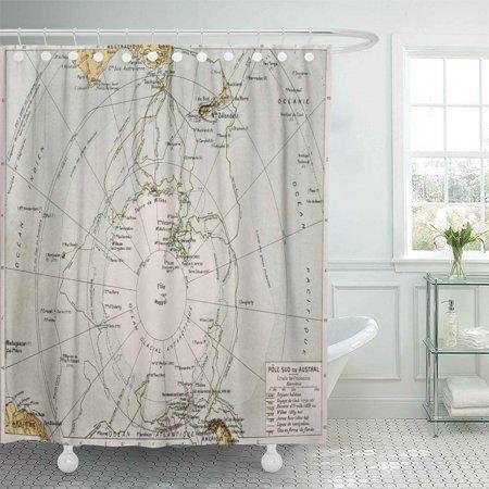 KSADK Antarctic Old Map by Paul Vidal De Lablache Atlas Classique Librerie Colin Shower Curtain 66x72 inch