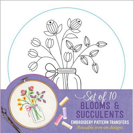 Blooms & Succulents Embroidery Pattern Transfers