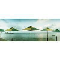 Beach umbrellas Morro De Sao Paulo Tinhare Cairu Bahia Brazil Stretched Canvas - Panoramic Images (15 x 6)