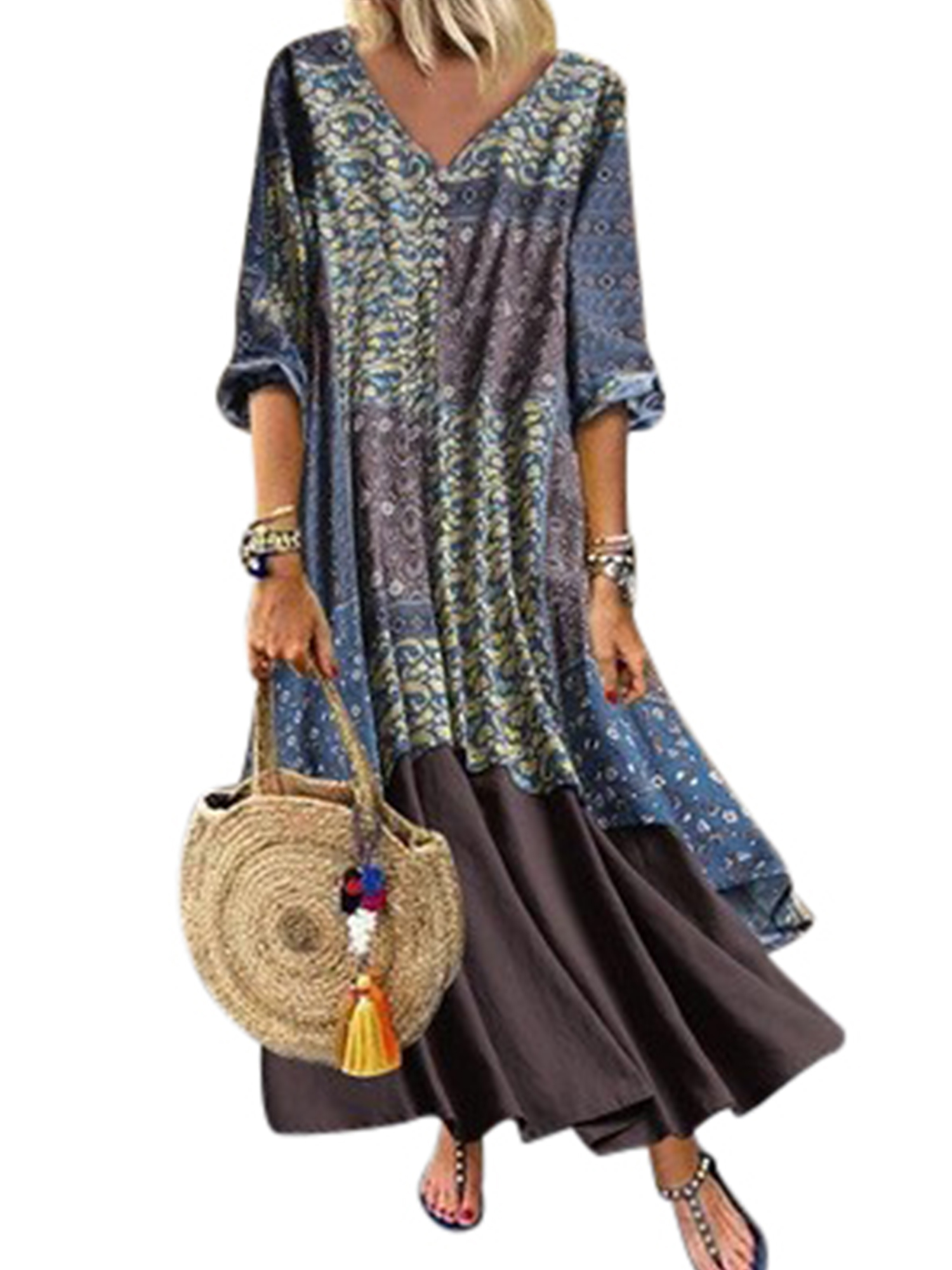 Maxi Dress Linen Long Boho Cotton Womens Casual Kaftan Tunic Gypsy Sleeve Dress
