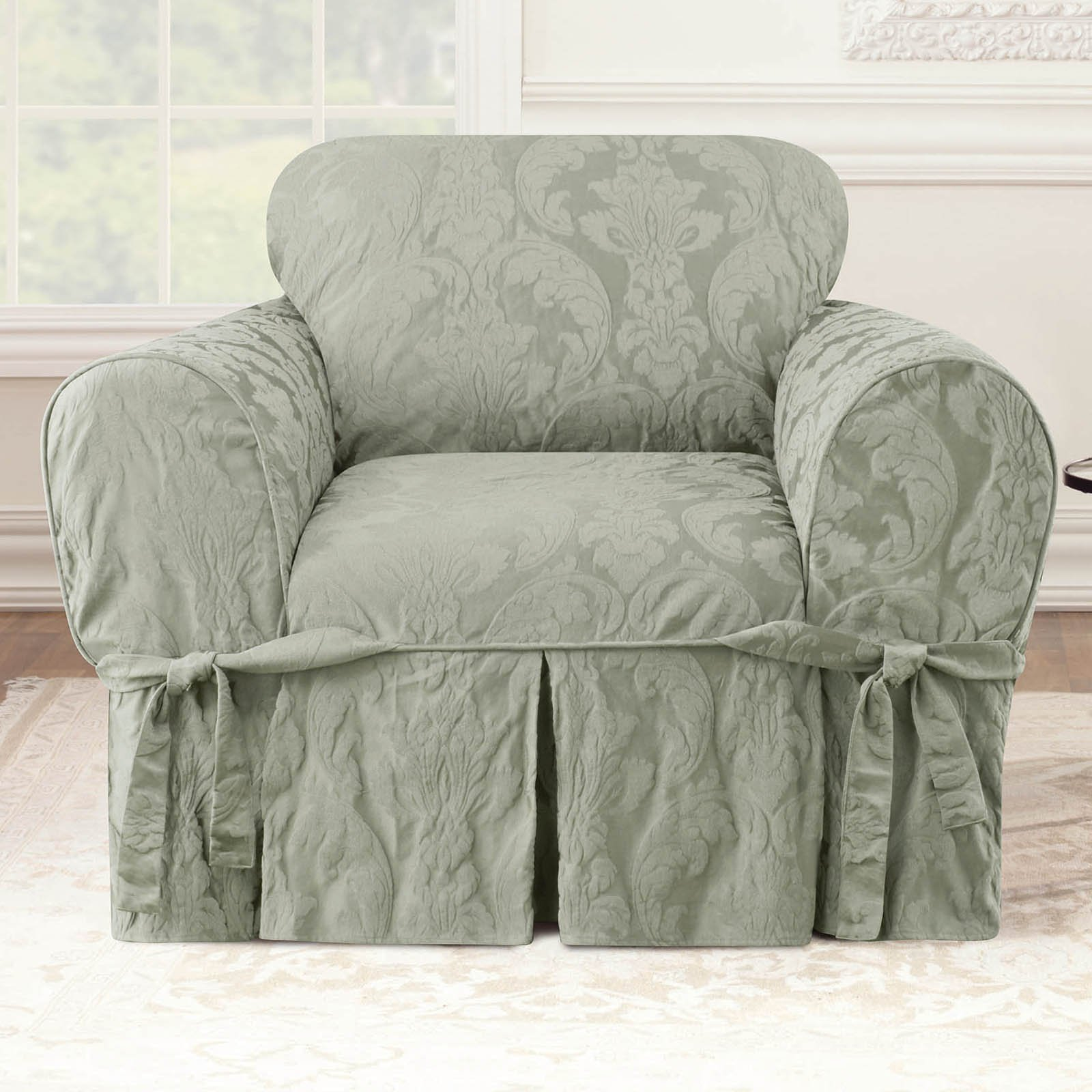 Sure Fit Matelasse Damask Chair Slipcover Walmart