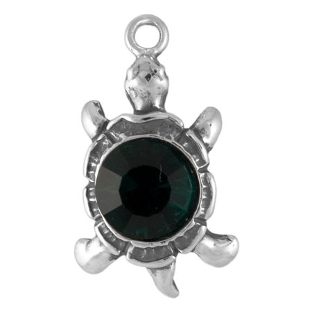 Sterling Silver Emerald Crystal 3D Turtle Charm Item #46617