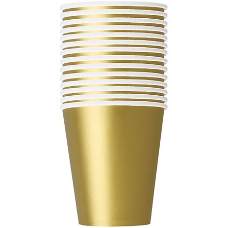 (3 Pack) Paper Cups, 9 oz, Gold, 14ct
