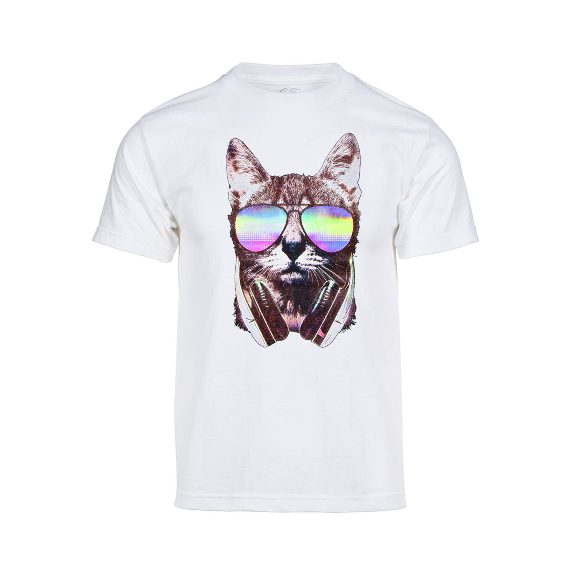 8bf2b6afc06ee Mens DJ Cat Short-Sleeve T-Shirt - White - 3X-Large