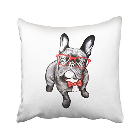 Decorative Black Mesh Glass Cover (WinHome Sketch Cute Black French Bulldog In Red Glass And Butterfly Bow Tie Decorative Pillowcases With Hidden Zipper Decor Cushion Covers Two Sides 20x20 inches)