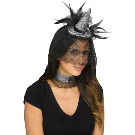 Mini Witch Hat Choker Spiderweb Headband Black Feathers Costume Accessory Set