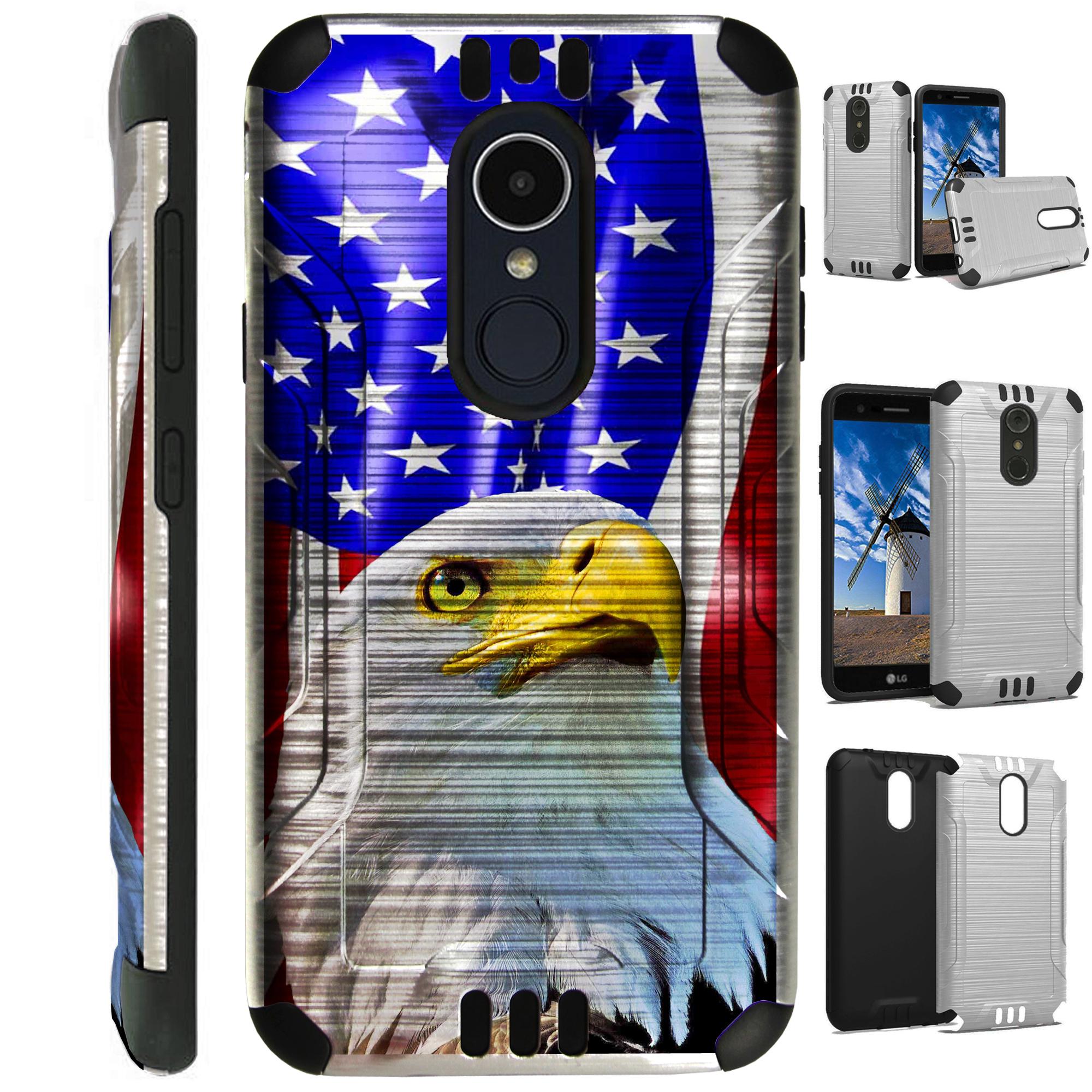 For LG Rebel 3 | LG Rebel 4 Case Brushed Metal Texture Hybrid TPU Silver Guard Phone Cover (Patriotic Eagle)
