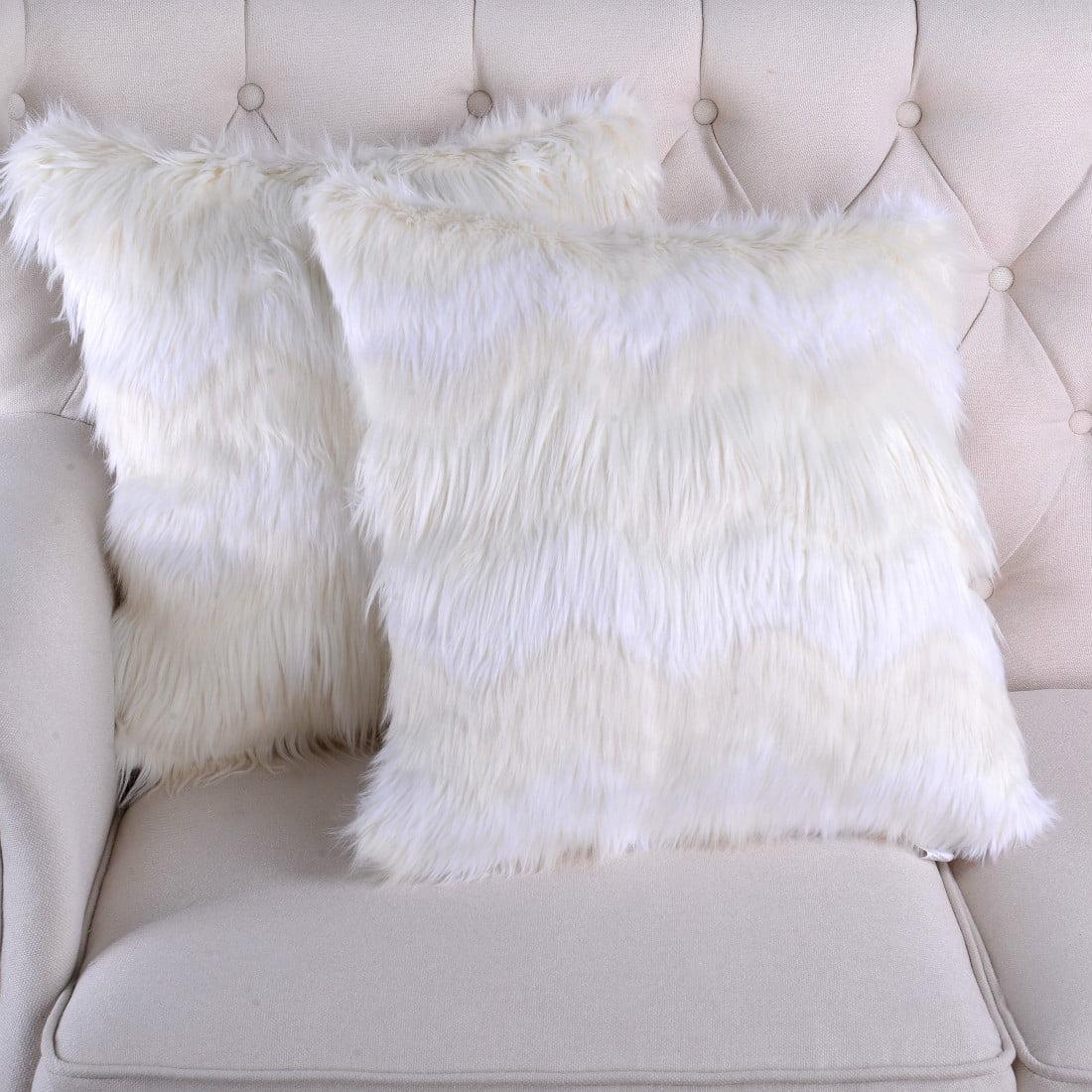 Serenta Chevron Faux Fur 2 Piece Pillow Shells