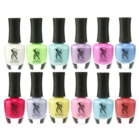 SXC Cosmetics Nail Polish Set - 12 Pastel Shades, 15ml/0.5oz Full Size, Perfect Nail Lacquer Gift Set Regular Use & Nail Art Design