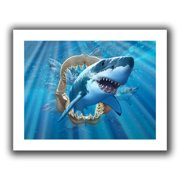 ArtWall Great White Shark' by Jerry Lofaro Graphic Art on Rolled Canvas