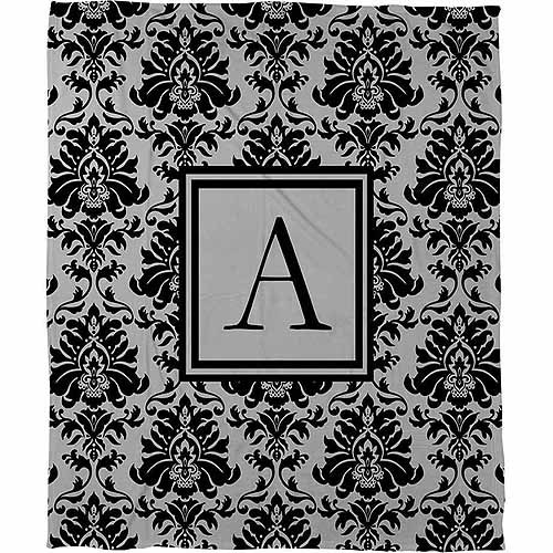Thumbprintz Damask Monogram Fleece Throw, Black and Grey