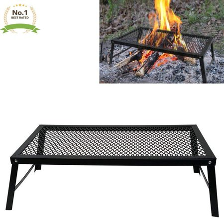 Heavy Duty Steel Mesh Campfire Grill Stand Use Over Fire BBQ - Portable With Folding Legs (22 x 12in) Grill Stands And Carts