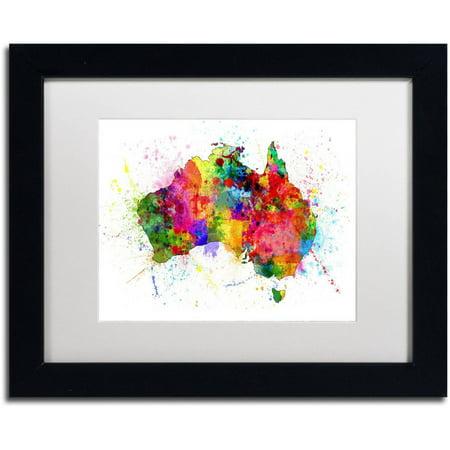 Trademark Fine Art 'Australia Paint Splashes Map' Canvas Art by Michael Tompsett, White Matte, Black