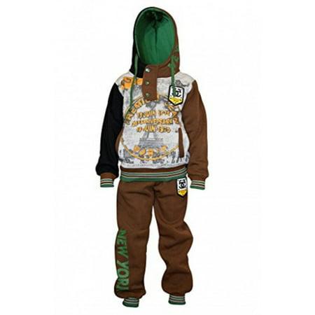 c5306762 Skylinewears Kids Boys Sweatsuit Tracksuit Hooded Two Piece Set Eifel Brown  8