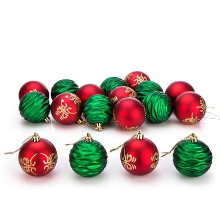 24ct Christmas Ball Ornaments Shatterproof Xmas Decorations Tree Balls for Holiday Wedding Party - Green/Red, 2.36