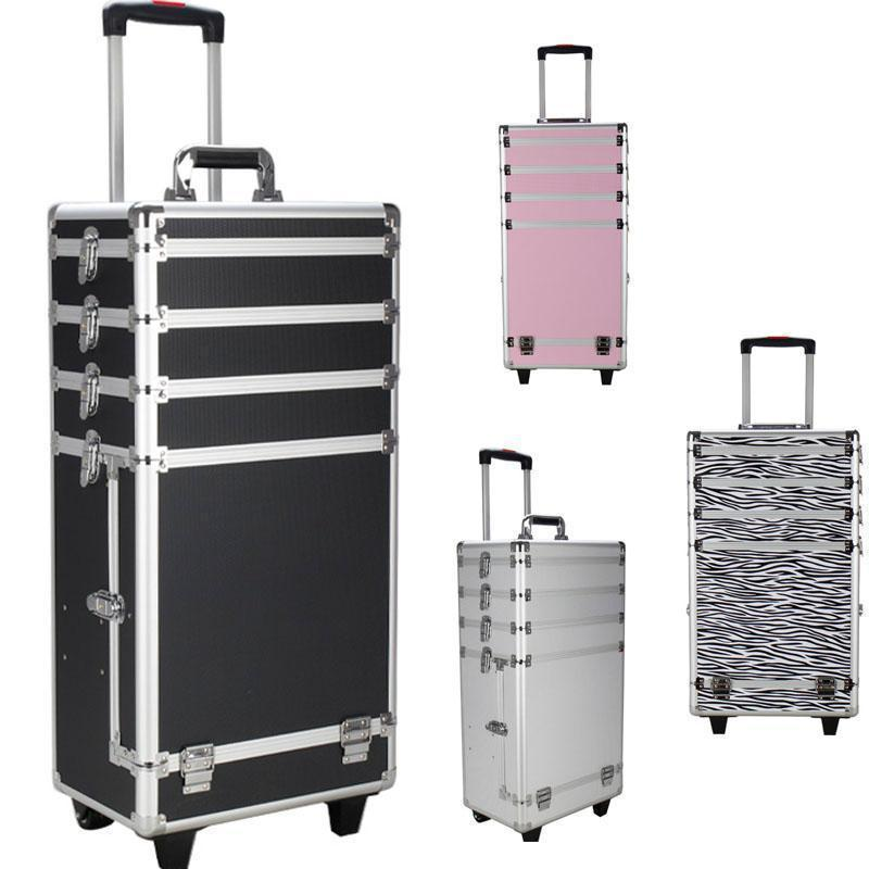 UBesGoo Pro 4in1 Aluminum Rolling Makeup Cosmetic Train Case Wheeled Box Trolley 4 Color
