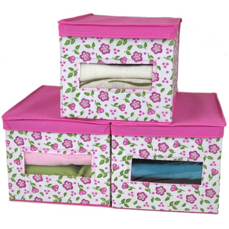 SET of 3- Closet Storage Organizer Box Sweaters, Clothing, Linens, Blankets | Clear Front | Lid | Floral Print (Closing Box)