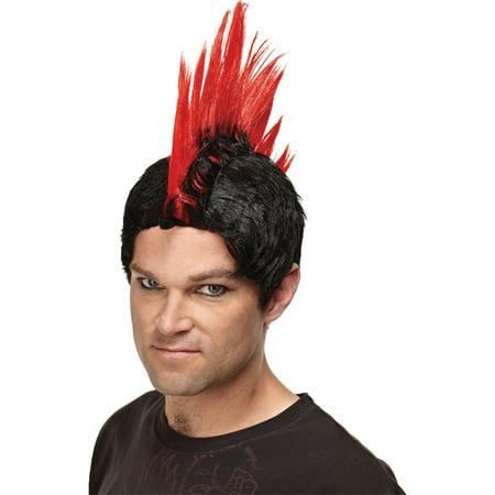 Morris Costumes Mens Punk Rocker Adult Halloween Red Wig, Style, MR178002