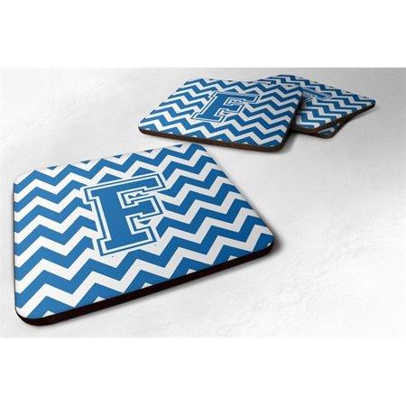 Carolines Treasures CJ1056-FFC Letter F Chevron Blue & White Foam Coaster, 3.5 x 0.25 x 3.5 in. - Set of 4 - image 1 of 1