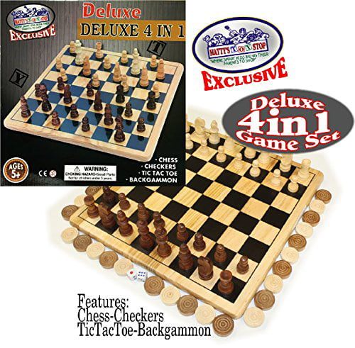 Matty's Toy Stop Exclusive Deluxe 4-in-1 Chess, Checkers, Tic Tac Toe & Backgammon Wooden Game Set by Homeware