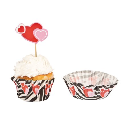 Wild For You Baking Cup W/ Pick for Valentine's Day - Party Supplies - Serveware & Barware - Picks & Stirrers & Parasols - Valentine's Day - 100 Pieces (Valentine Supply)