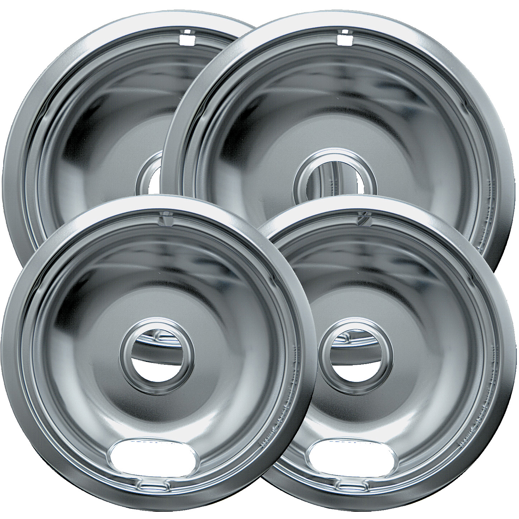 "Range Kleen 4-Piece Drip Bowl, Style A fits Plug-in Electric Ranges Amana, Crosley, Frigidaire, Kenmore"", Maytag, Whirlpool, Chrome"