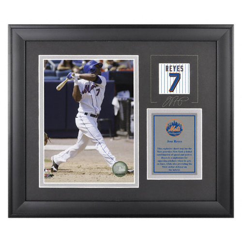 MLB - Jose Reyes Framed 6x8 Photograph | Details: New York Mets, with Facsimile Signature