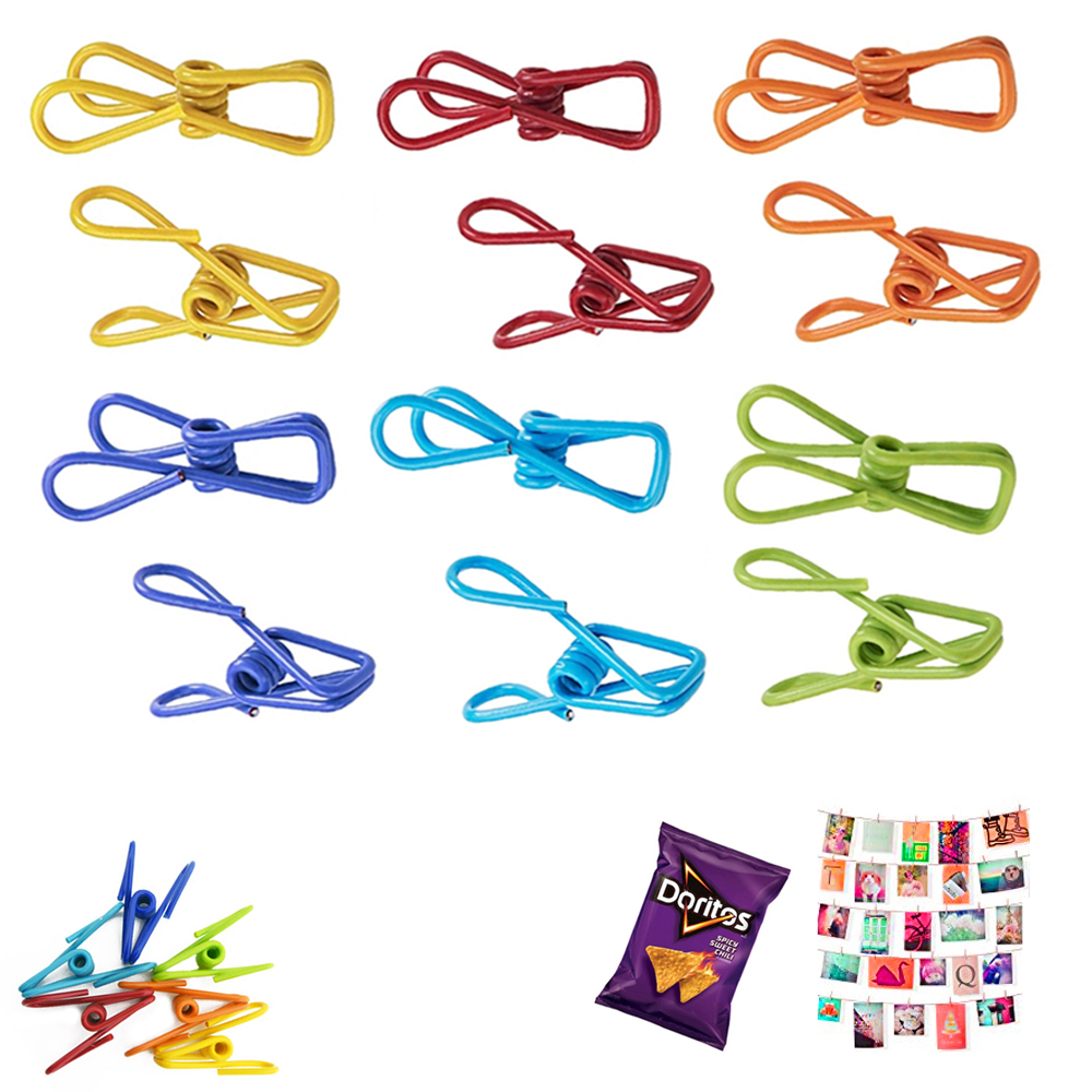24X Multi Purpose Clips Colored Kitchen Metal Food Sealing Bag Snack Chip Holder