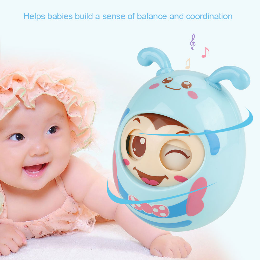 Educational Infant Baby Teether Swing Toy Cute Blink Wink Tumbler Toy,Infant Blinking Shaking Rattle Handbell, Baby Rattle,Baby Teether