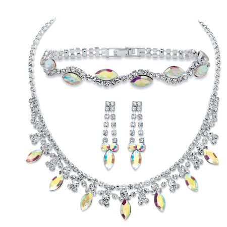 Marquise-Cut Aurora Borealis Crystal 3-Piece Necklace, Earrings and Bracelet Set in Silvertone 14