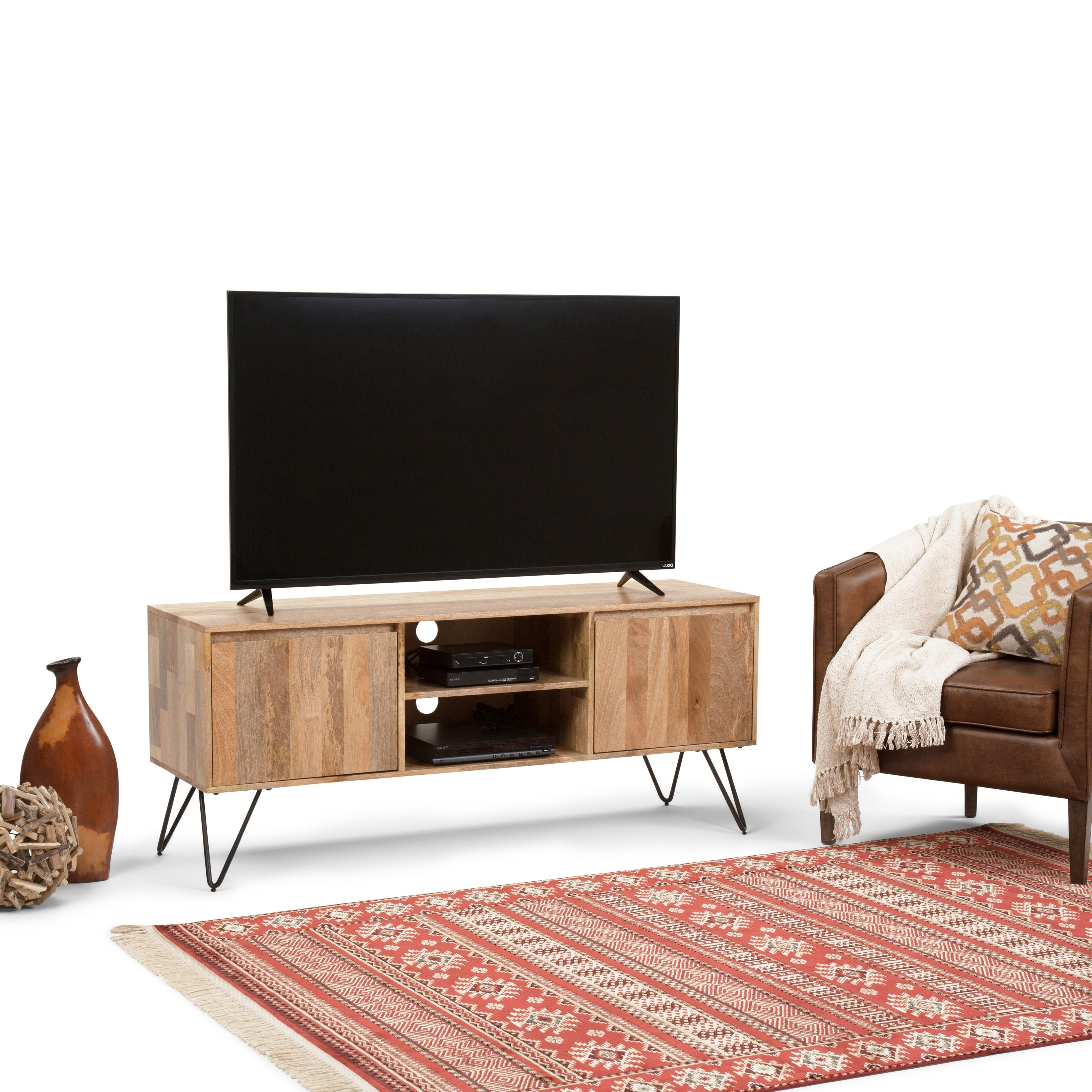 WyndenHall  Moreno Industrial Solid Mango & Metal TV Media Stand for TVs up to 66 inches