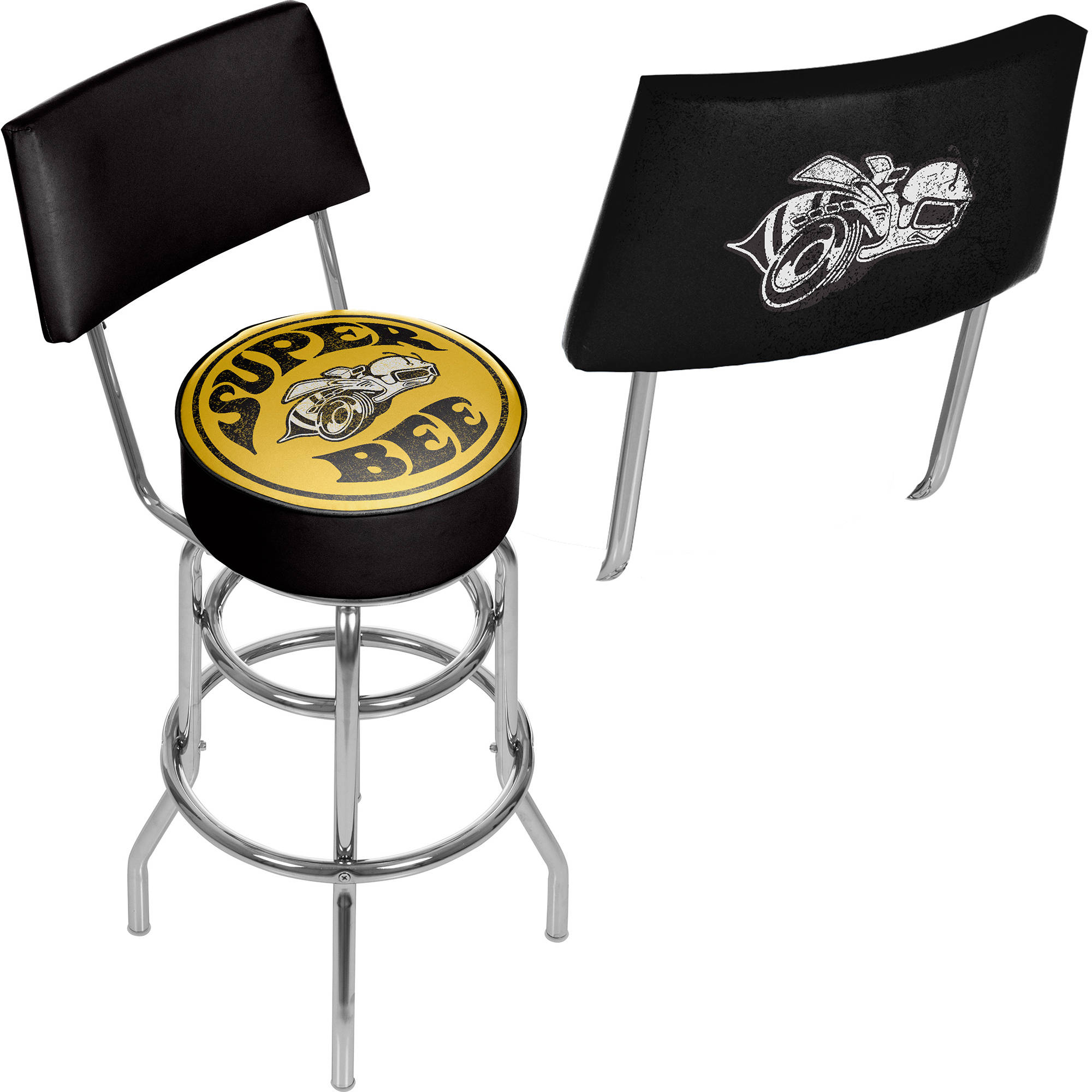 Dodge Swivel Bar Stool with Back, Super Bee