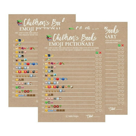 25 Rustic Emoji Children's Books Pictionary Baby Shower Game Party Ideas For Quiz Boy, Girl, Kids, Men, Women and Couples, Cute Classic Bundle Pack Set, Kraft Gender Neutral Unisex Fun Coed Cards