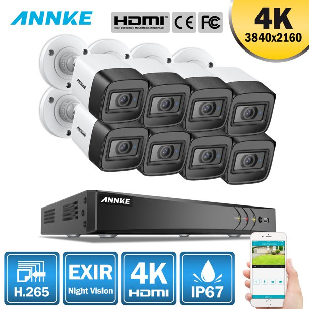 ANNKE 8CH Ultra HD 4K 8PCS CCTV Camera System with No HDD