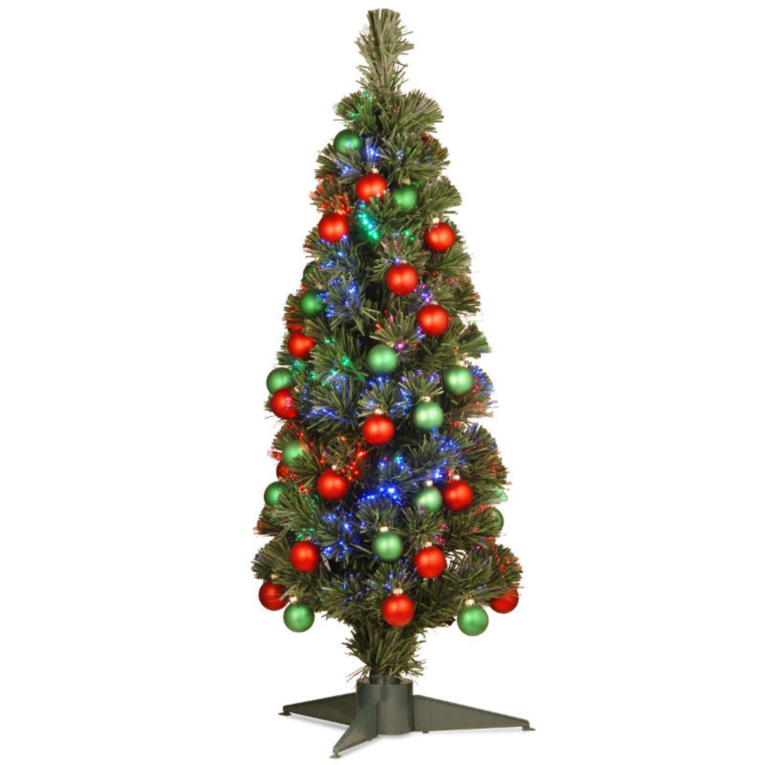 3' Pre-lit Fiber Optic Fireworks Artificial Christmas Tree with Ball Ornaments - Multi Lights