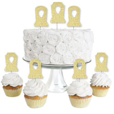 Halloween Cupcakes Real Simple (Gold Glitter Tombstones - No-Mess Real Gold Glitter Dessert Cupcake Toppers - Graveyard Halloween Party Clear Treat Picks - Set of)