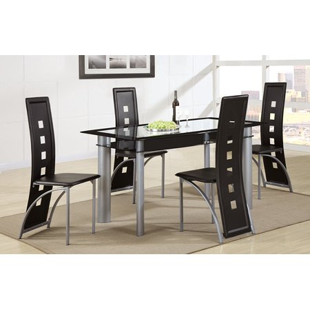Square Back Chairs - Set of 4 Contemporary Dining Chair with Back Seat Square Openings in Black Faux Leather and Chrome Legs