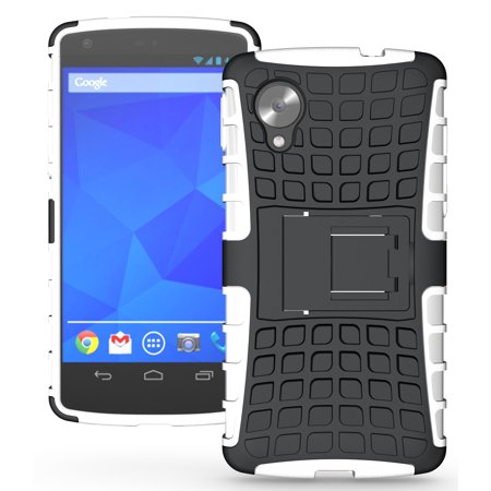 cheap for discount f17c5 2809d NAKEDCELLPHONE WHITE GRENADE RUGGED TPU SKIN HARD CASE COVER STAND FOR  LG/GOOGLE NEXUS 5 PHONE