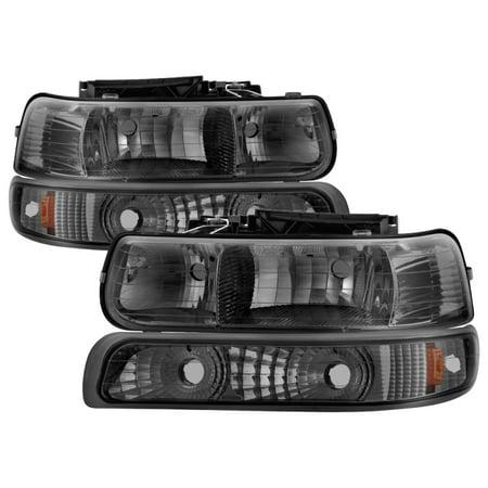 Xtune Chevy TahOE 00-06 Amber Crystal Headlights w/ Bumper Lights Smoke HD-JH-CSIL99-SET-AM-SM